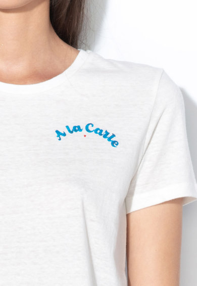 Maison Scotch Tricou cu detaliu text Femei