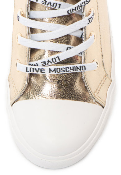 Love Moschino Tenisi inalti din piele ecologica cu aspect metalizat Femei