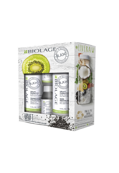 Biolage Set ingrijire par  R.A.W. Uplift pentru par fin si fara volum: Sampon, 325 ml + Balsam, 325 ml + Sampon format calatorie, 50 ml + Balsam format calatorie, 50 ml Femei