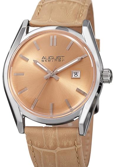 August Steiner Овален часовник с кожена каишка Жени