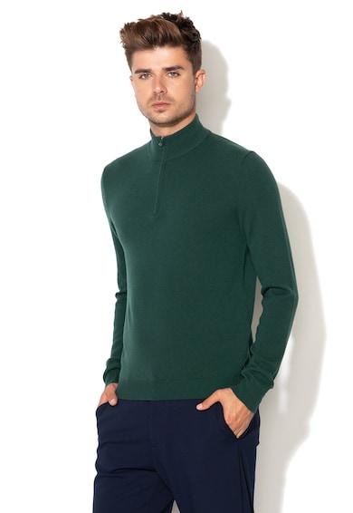 United Colors of Benetton Merinó gyapjú pulóver rövid cipzáras záródással férfi
