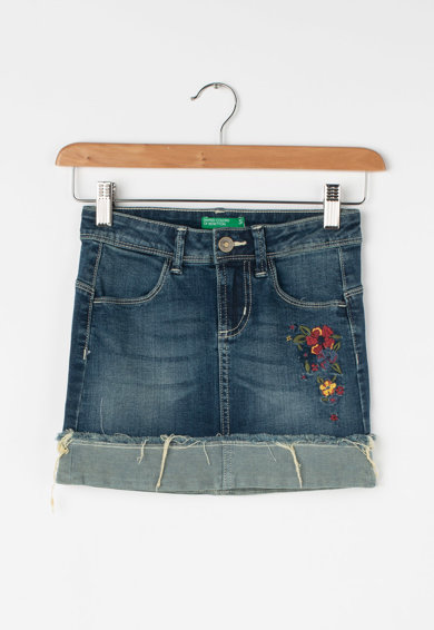 United Colors of Benetton Fusta din denim cu broderii florale Fete