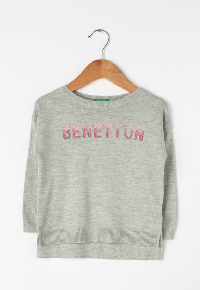 United Colors of Benetton Pulover din tricot fin cu logo Fete