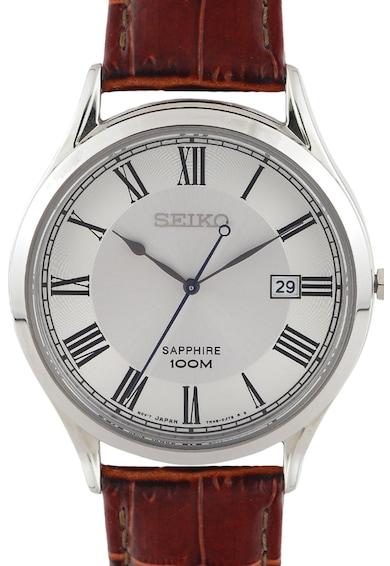 Seiko Часовник с кожена каишка Мъже