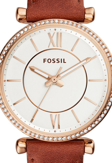 Fossil Часовник Carlie с кожена каишка Жени