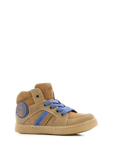 Kickers kids Pantofi sport high-top de piele ecologica cu detalii contrastante Baieti