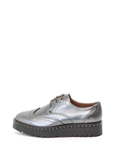 Trussardi Pantofi Brogue de piele cu aspect metalizat, talpa wedge si tinte Femei