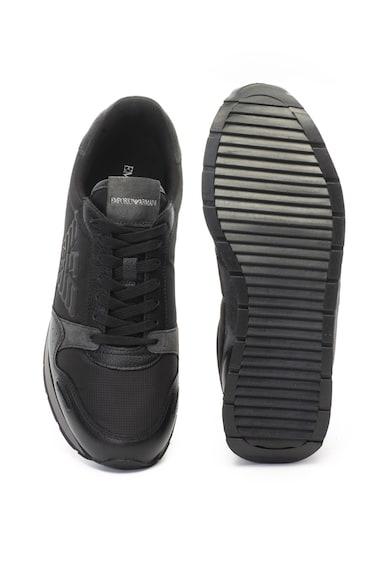 Emporio Armani Nyersbőr sneakers cipő kontrasztos szegélyekkel férfi