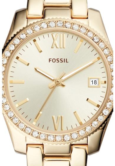 Fossil Woman, Ceas cu bratara metalica si cristale decorative Scarlette Femei