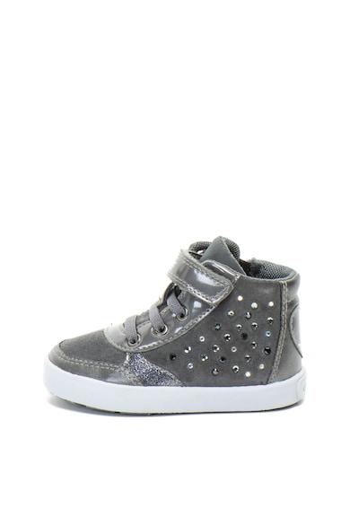 Geox Sneakers, Pantofi sport mid-high de piele intoarsa cu strasuri Kilwi Baieti