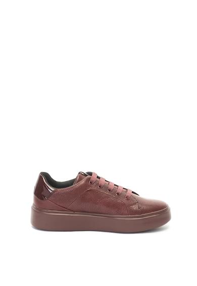 Geox Pantofi sport flatform usori, de piele si cu aspect texturat Femei