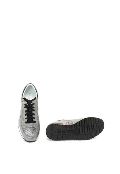 Pollini Кожени спортни обувки с метализиран ефект Жени