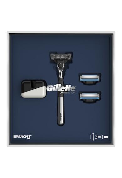 Gillette Set cadou: Aparat de ras  Mach3 + 2 rezerve + suport Barbati