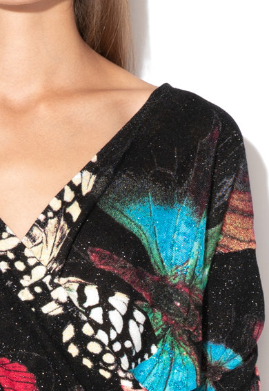 DESIGUAL Асиметричен пуловер Papillon с лъскави детайли Жени