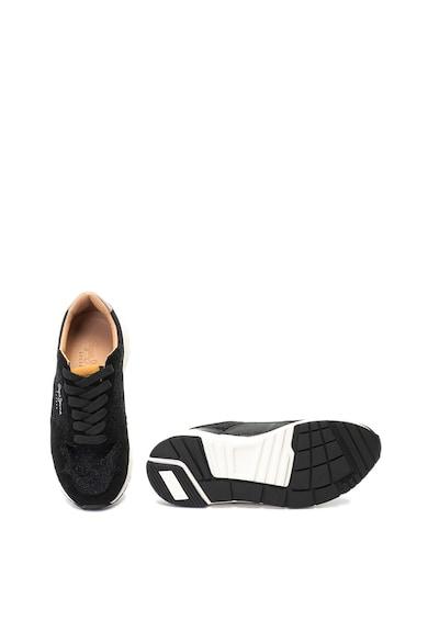 Pepe Jeans London Foster csillámos sneakers cipő nyersbőr szegélyekkel női