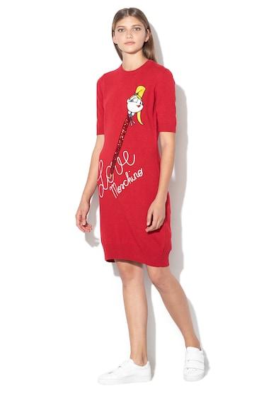 Love Moschino Права десенирана рокля с вълна Жени