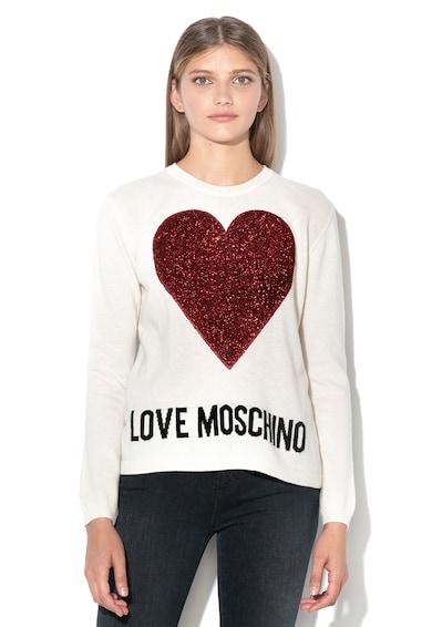 Love Moschino Gyapjútartalmú pulóver fényes szívmintával női