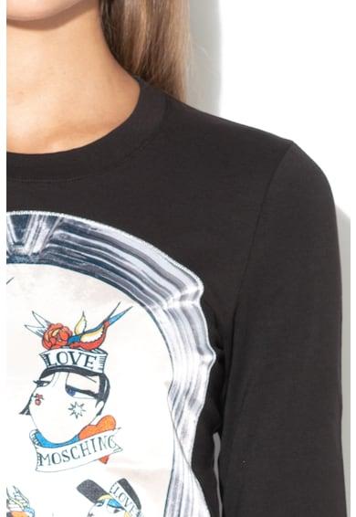 Love Moschino Блуза с овално деколте и щампа Жени