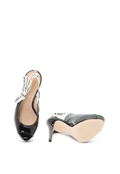 Guess Sandale stiletto de piele ecologica cu aspect lacuit si detaliu logo Femei