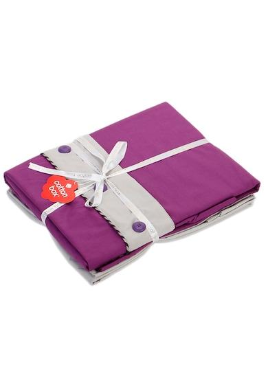 Cotton Box Lenjerie de pat  100% bumbac, 200x220 cm, Mov/Gri Femei
