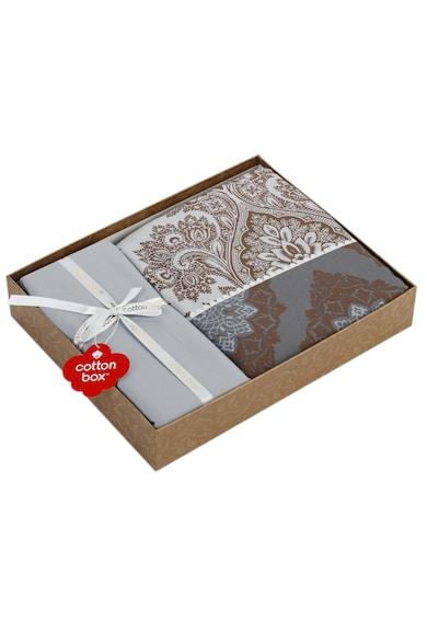 Cotton Box Lenjerie de pat  100% bumbac satinat, 200x220 cm, Maro/Gri Femei