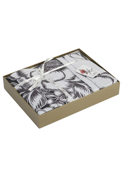 Majoli Bahar Home Collection Lenjerie de pat  100% bumbac satinat, 200x220 cm, Negru/Alb Femei