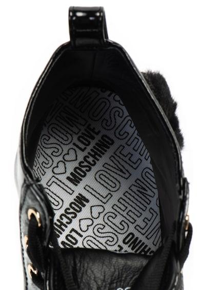 Love Moschino Magas szárú lakkozott műbőr sneakers cipő női