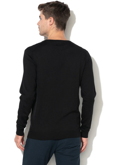 GUESS JEANS Gyapjútartalmú pulóver bordázott szegélyekkel férfi