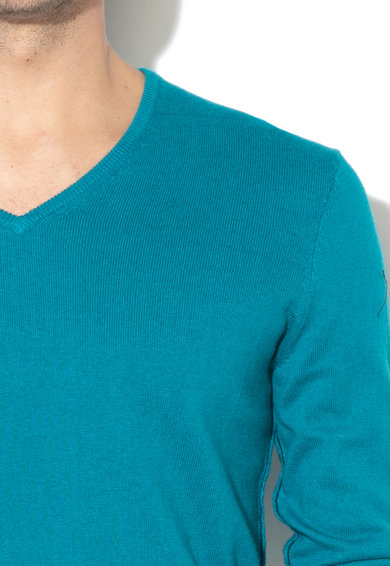 GUESS JEANS Finomkötött V-nyakú pulóver férfi