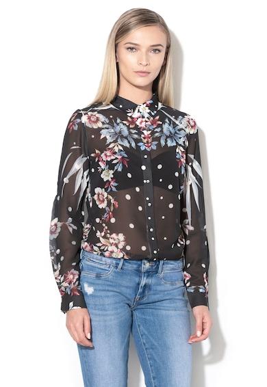 GUESS JEANS Áttetsző laza virágmintás ing női