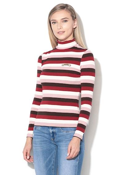 GUESS JEANS Rövid gallérú bordázott pulóver női