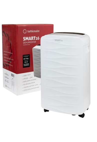 Turbionaire Dezumidificator de aer  Smart 16 Eco - 16 l/24h, Panou de control digital, 130mc/h, Higrostat incorporat, Timer, Auto Restart, Filtru lavabil, Silentios Femei