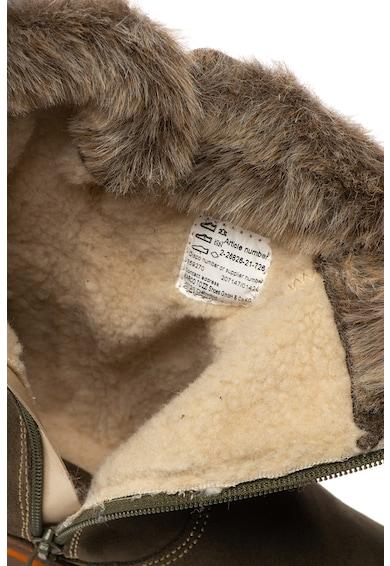 Marco Tozzi Cizme scurte de piele intoarsa cu garnitura de blana sintetica Femei