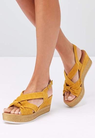 NEXT Sandale tip espadrile cu talpa wegde, de piele intoarsa Femei