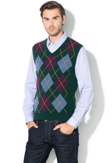 United Colors of Benetton Gyapjútartalmú mellény geometriai mintával férfi