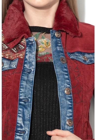 DESIGUAL Jacheta cu maneci tricotate si guler de blana sintetica Yuma Femei