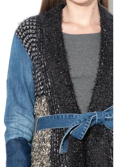 DESIGUAL Плетена жилетка Cordelia с ръкави от деним Жени