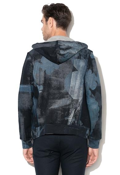 DESIGUAL Otto kapucnis pulóver absztrakt mintával férfi