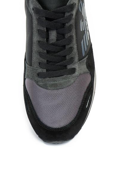 Emporio Armani Pantofi sport cu logo si garnituri de piele intoarsa Barbati