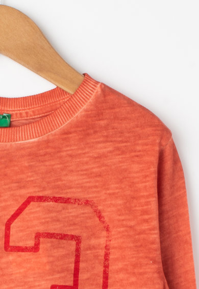 United Colors of Benetton Bluza cu imprimeu text si aspect transparent Baieti