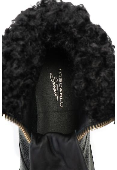 Tosca Blu Kiruna rövid szárú bőrcsizma irha hatású szegéllyel női