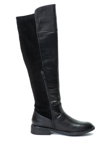 Xti Cizme lungi pana la genunchi de piele ecologica, cu insertii catifelate Femei