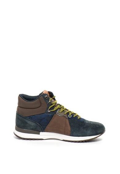 Pepe Jeans London Pantofi sport mid-high de piele intoarsa si material textil Tinker Barbati