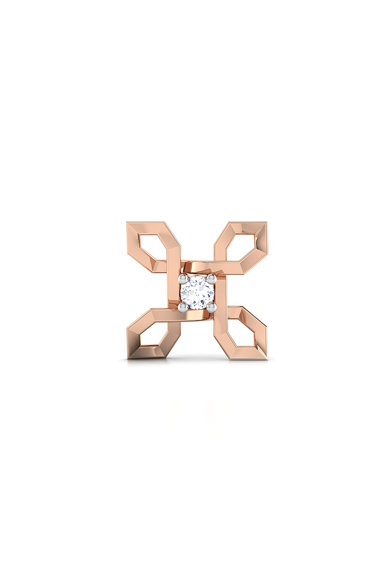 Dhamont Cercei din aur rose, decorati cu 2 diamante Femei