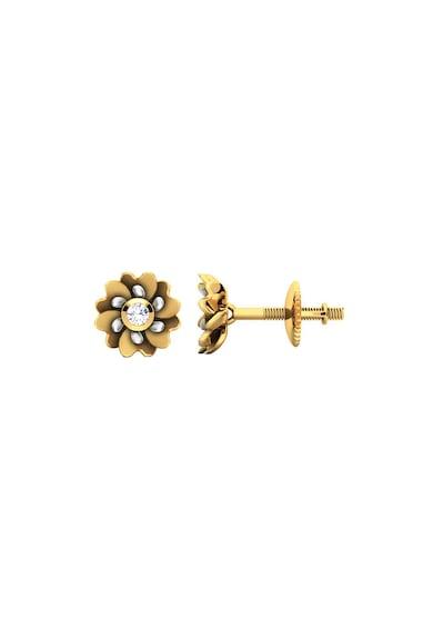 Dhamont Cercei cu tija, informa de floare, decorati cu 2 diamante Femei