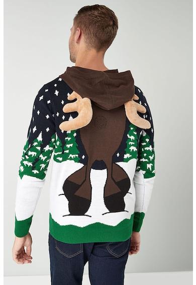 c88c2515b7 Karácsonyi mintás finomkötött kapucnis pulóver - NEXT (590262-BLUE)