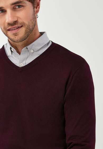 NEXT Фино плетен пуловер с шпиц деколте Мъже