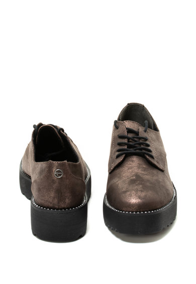 Tamaris Pantofi derby cu talpa wedge si aspect metalizat Femei