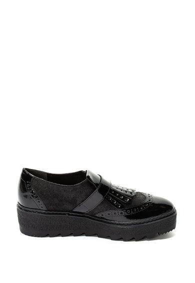 Tamaris Pantofi cu talpa wedge striata si insertii lacuite Femei