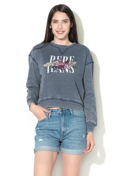 Pepe Jeans London Bluza sport cu maneci cazute si imprimeu Femei